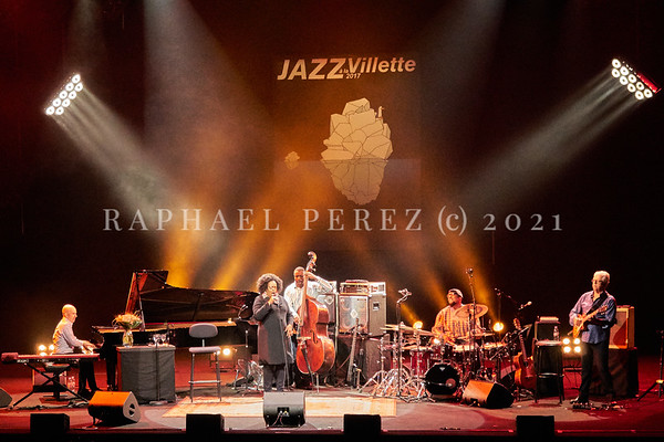 Dianne Reeves concert in Paris during Jazz à la Villette festival; September 2017. Full band with Peter Martin (Keyboards), Romero Lubambo (Guitar), Reginald Veal (double bass), Terreon Gully (Drums) and Dianne Reeves.