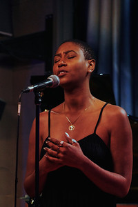 "Dominique Fils-Aimé show in Duc des Lombards, Paris, on December 2019, presenting her second album ""Stay tuned!""."