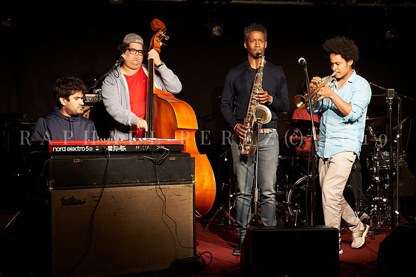 Cuban band El Comite rehearsal before show in Paris, New Morning. April 2019. Keyboard Harold Lopez-Nussa, bass Gaston Joya, with sax Irving Acao and trumpet Carlos Sarduy