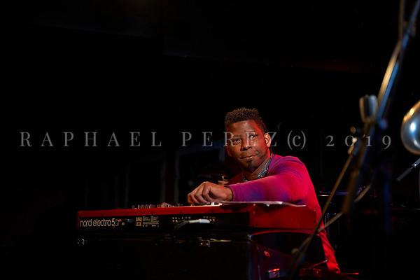 Cuban band El Comite rehearsal before show in Paris, New Morning. April 2019. Pianist Rolando Luna