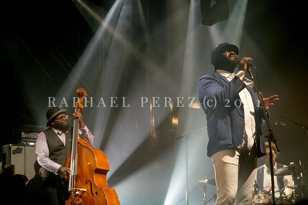Gregory Porter concert during Jazz à la Villette in Paris. September 2017. Double bassist Jahmal Nichols in background.