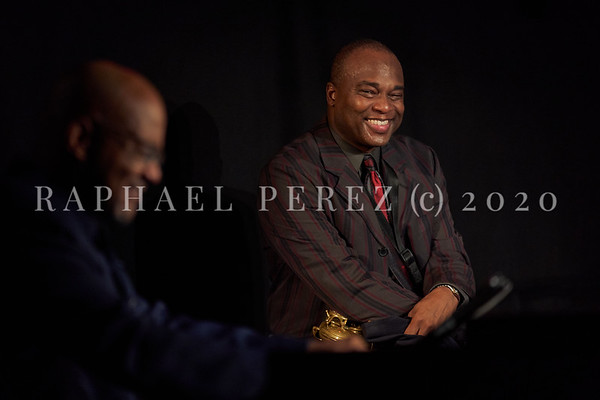 James Carter concert in Paris, Oct 2020, with his Organ Trio at New Morning. Artist in the background with  Gerard Gibbs playing Organ.