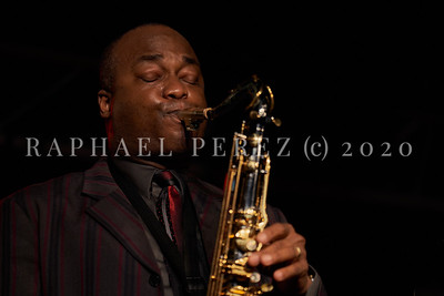 James Carter concert in Paris, Oct 2020, with his Organ Trio at New Morning. Artist playing his sax.