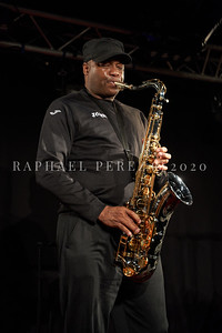 James Carter concert in Paris, Oct 2020, with his Organ Trio at New Morning. Artist with his sax during the soundcheck.