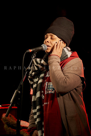 Bluesman Lucky Peterson concert in Paris New Morning on March 2019. Lucky's wife singer Tamara Tramell-Peterson during rehearsal