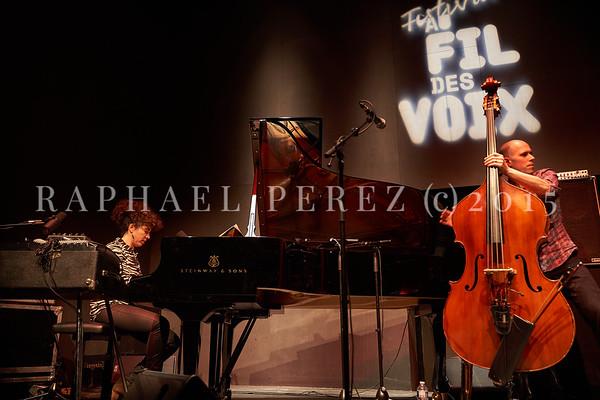 "Macha Gharibian Trio presenting new album  ""Joy Ascension"" at 360 Paris Music Factory during Au Fil des Voix festival, Jan 2020. Here with double bass, Chris Jennings."