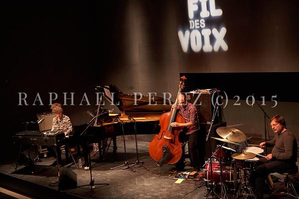 "Macha Gharibian Trio presenting new album  ""Joy Ascension"" at 360 Paris Music Factory during Au Fil des Voix festival, Jan 2020. With double bass, Chris Jennings and drums, Dré Pallemaerts"