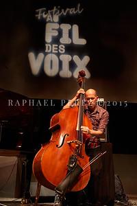 "Macha Gharibian Trio presenting new album  ""Joy Ascension"" at 360 Paris Music Factory during Au Fil des Voix festival, Jan 2020. Here on double bass, Chris Jennings ."