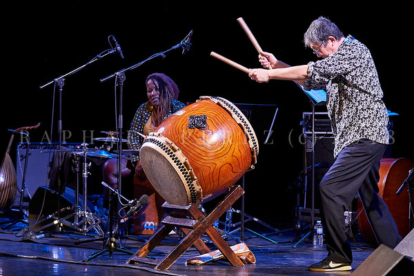 Nicole Mitchell and Black Earth ensemble, Sons d'Hiver Festival 2019  Tatsu Aoki with taiko