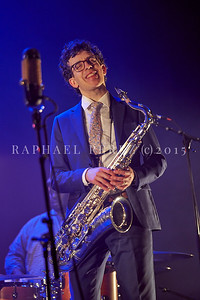 """Oded Tzur quartet in Paris on Feb 15, 2020 World Tour for the launch of the new ECM album """"Here be Dragons"""". The musicians on stage did the original LP recordings Oded Tzur (Tenor Saxophone), Nitai Hershkovits (Piano), Petros Klampanis (Double Bass), Johnathan Blake (Drums)"""