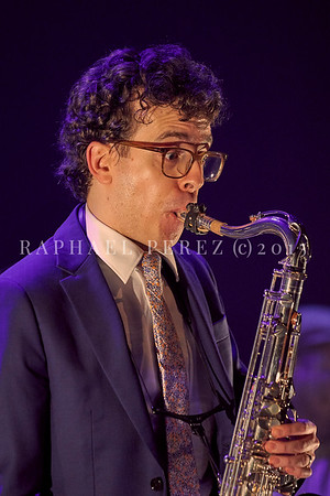 "Oded Tzur quartet in Paris on Feb 15, 2020 World Tour for the launch of the new ECM album ""Here be Dragons"". The musicians on stage did the original LP recordings Oded Tzur (Tenor Saxophone), Nitai Hershkovits (Piano), Petros Klampanis (Double Bass), Johnathan Blake (Drums)"