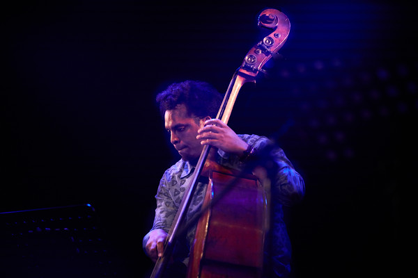 "Robin McKelle concert on May 2018 in New Morning Paris, presentating her 8th album ""Melodic Canvas"". Here Rashaan Carter with double bass."