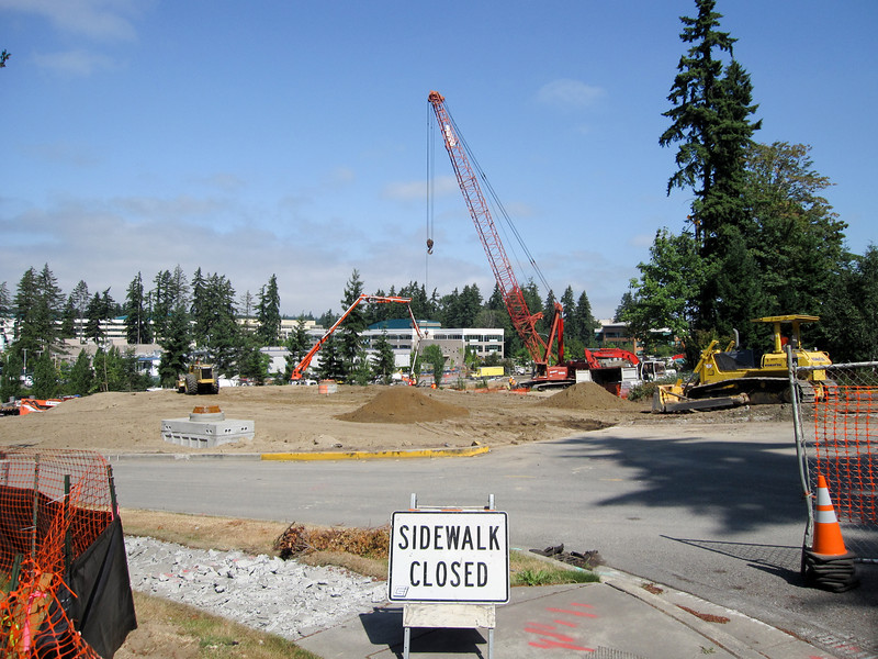 July 22, 2009. NE 31st Street as the bridge construction just gets underway. The westbound lane has already been covered with dirt.