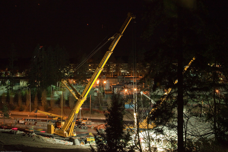 Wednesday December 9th. This is the sixth night that bridge girders have been put in place.