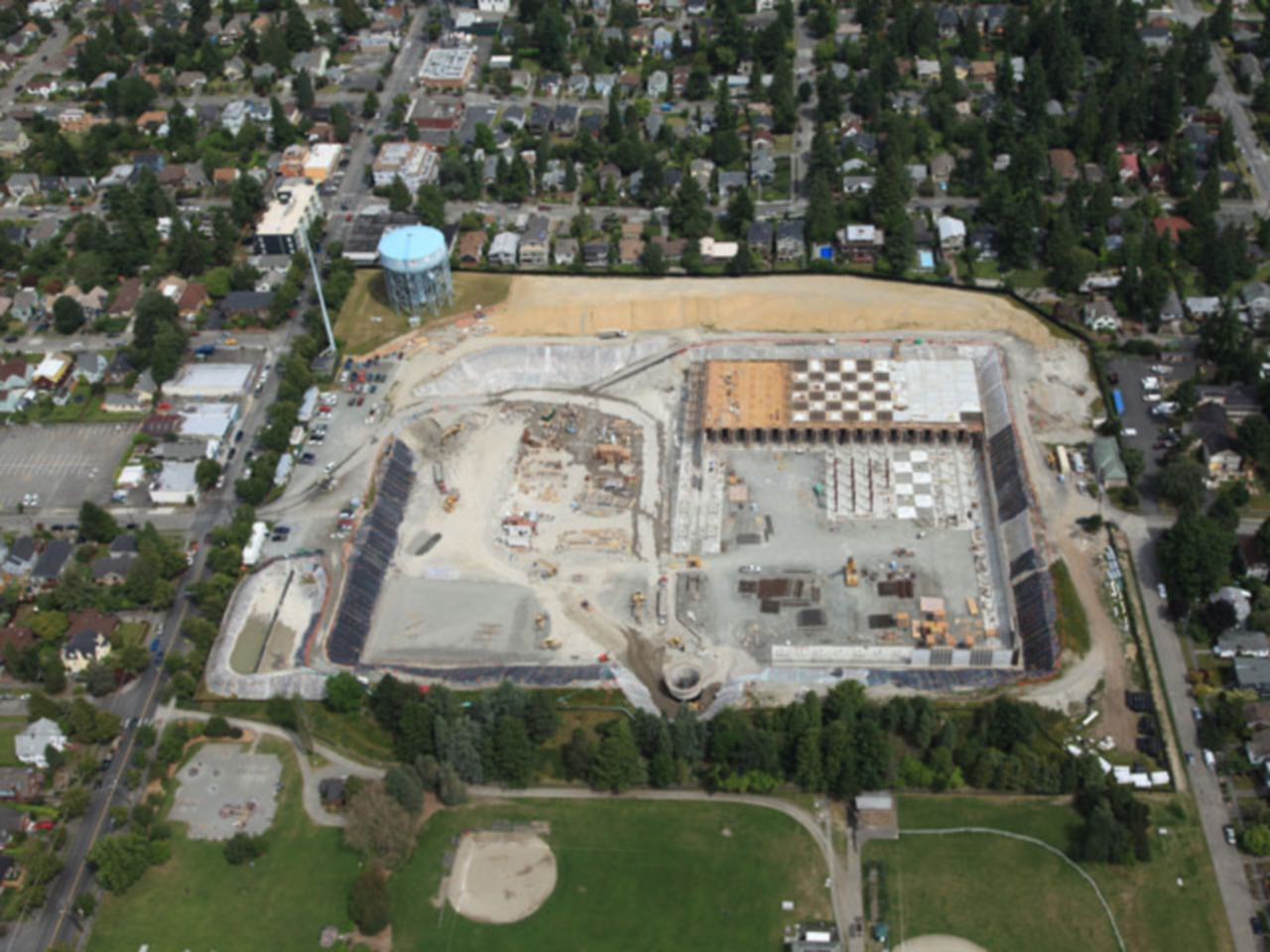An aerial photo of an early phase of the work.