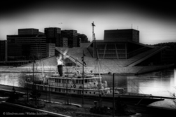 What's up in March 2019? Photo of the month: Oslo Opera and the MS Grace in a Film Noir style