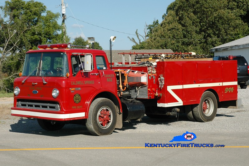 <center> Caldwell Springs  Tanker 602 <br> x-Smithland, KY <br> 1983 Ford C/Local 450/1500 <br> Greg Stapleton photo <br> </center>