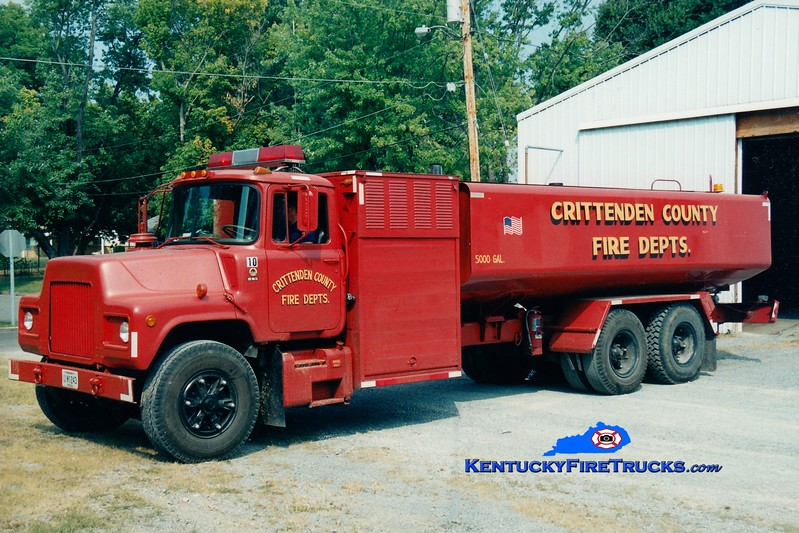 <center> Crittenden County  Tanker 4 <br> x-Military <br> 1983 Mack DM/KME 100/5000  <br> Greg Stapleton photo <br> </center>