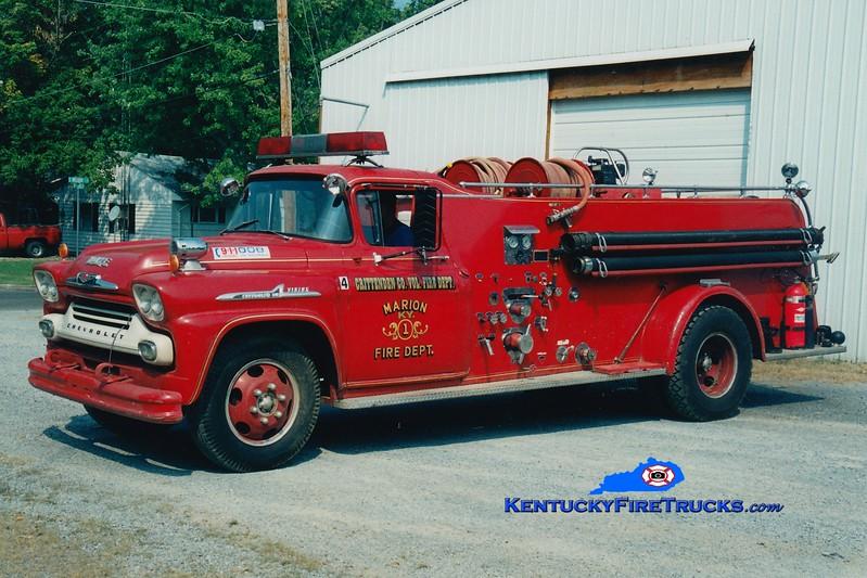 <center> RETIRED <br> Crittenden County  Engine 2 <br> x-Marion, KY <br> 1958 Chevy/Howe 500/500 <br> Greg Stapleton photo <br> </center>