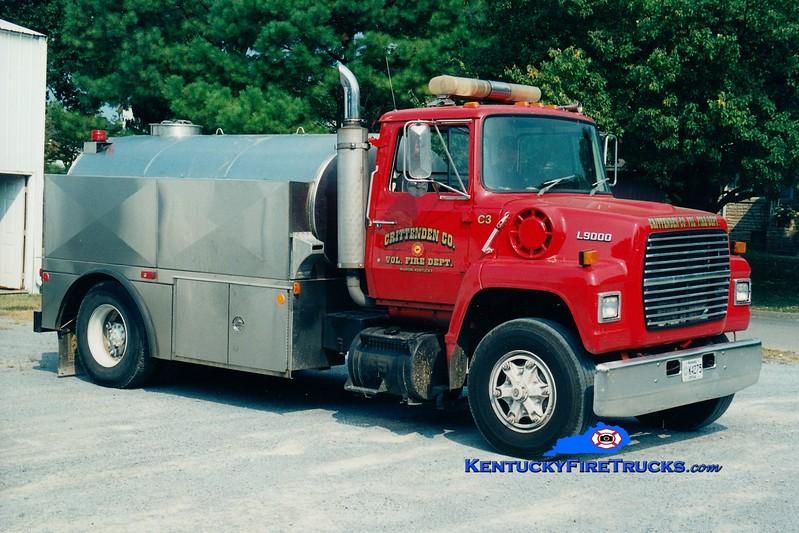 <center> RETIRED <br> Crittenden County  Tanker 3 <br> 1988 Ford L/Semo 0/2000 <br> Greg Stapleton photo <br> </center>
