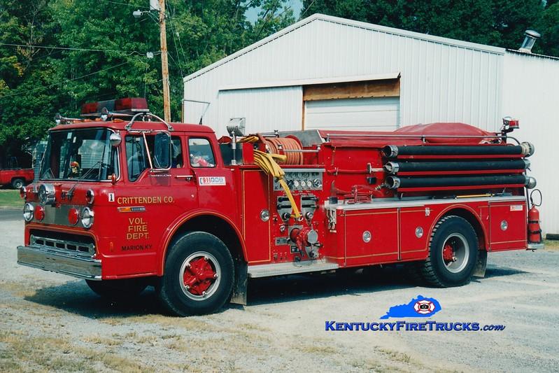 <center> RETIRED <br> Crittenden County  Engine 1 <br> x-Christiana, PA <br> 1975 Ford C/Hahn 1000/1100 <br> Greg Stapleton photo <br> </center>
