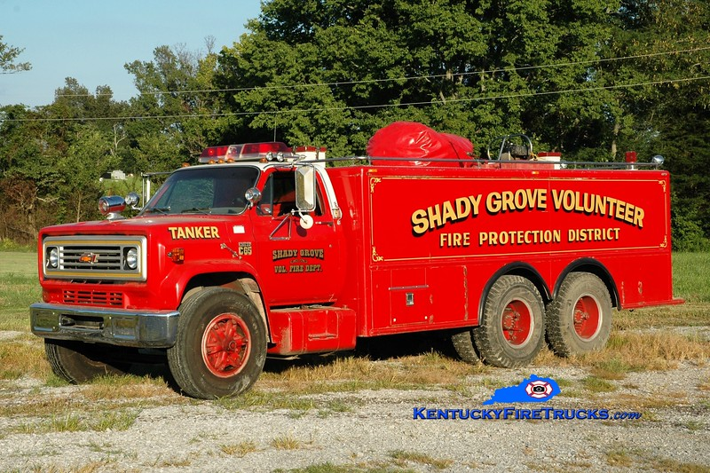 <center> Shady Grove  Tanker 1 <br> 1976 Chevy C65/Able 250/3000  <br> Greg Stapleton photo <br> </center>