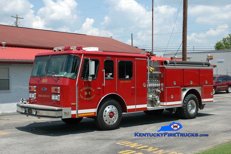 <center> Burkesville  Engine 1 <br> x-Brevard County, FL  <br> 1992 E-One Protector 1250/1000 <br> Greg Stapleton photo </center>