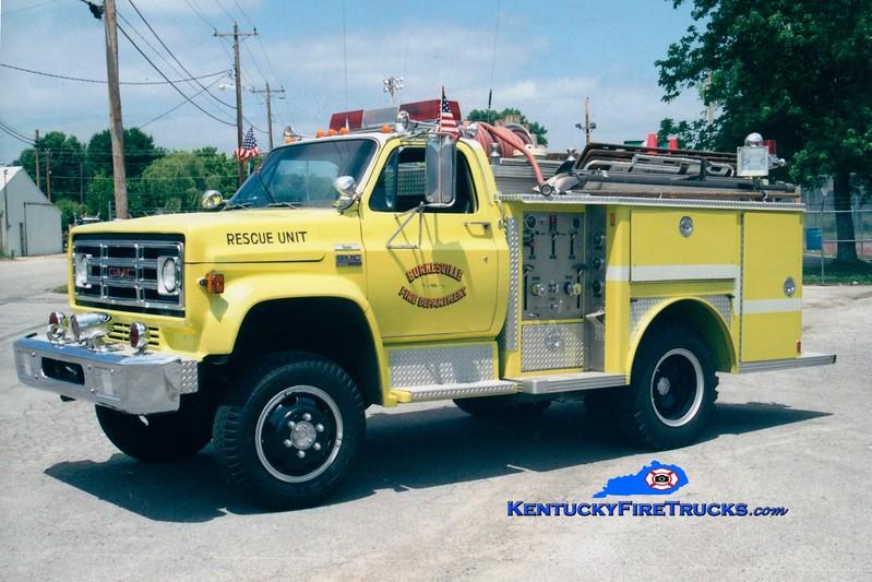 <center> Burkesville  Rescue 1 <br> x-Zion, IL <br> 1977 GMC 4x4/E-One 250/250<br> Greg Stapleton photo </center>