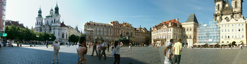 Panoramic view of Old Town Square in Prague.