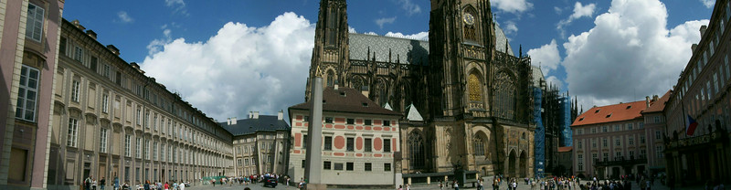 Panoramic view of the inside of Prague Castle, including the towering St. Vitas Cathedral.
