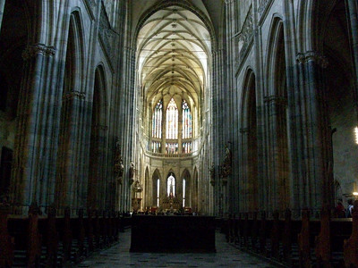 Inside the 14th century St. Vitas Cathedral in Prague Castle. The cathedral contains the crown jewels as well as the tomb of King Wenceslas.