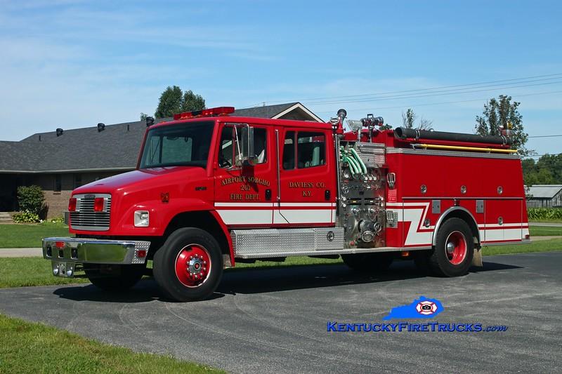 <center> RETIRED <br> Airport Sorgho  Engine 201 <br> 1993 Freightliner FL80/KME 1250/1000/30 <br> Kent Parrish photo <br> </center>