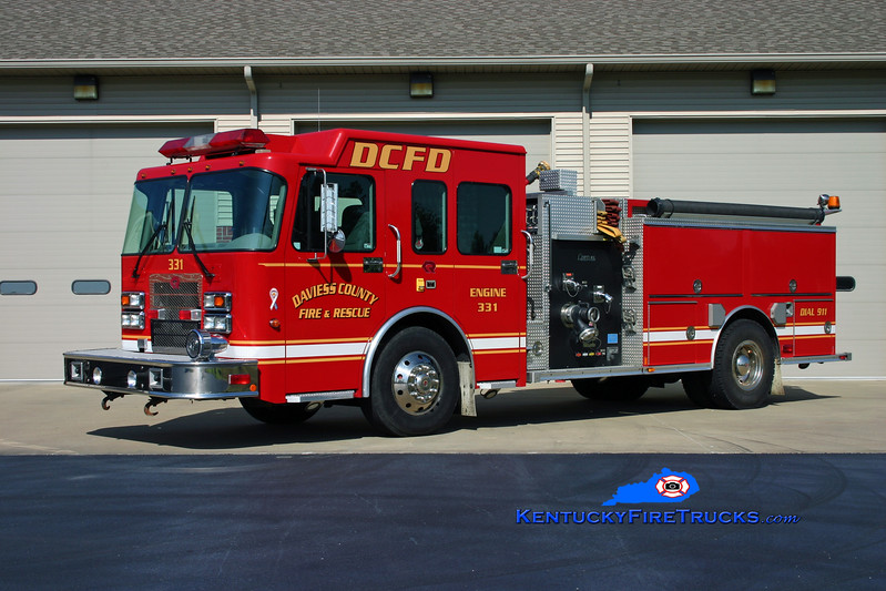 <center> Daviess County  Reserve Engine  <br> x-Engine 331 <br> 2004 Spartan Advantage/Rosenbauer-Central 1250/750 <br> Kent Parrish photo </center>