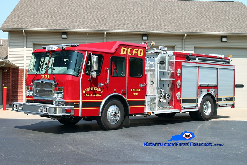 <center> Daviess County  Engine 331  <br> 2014 E-One Typhoon 1250/1030 <br> Kent Parrish photo </center>