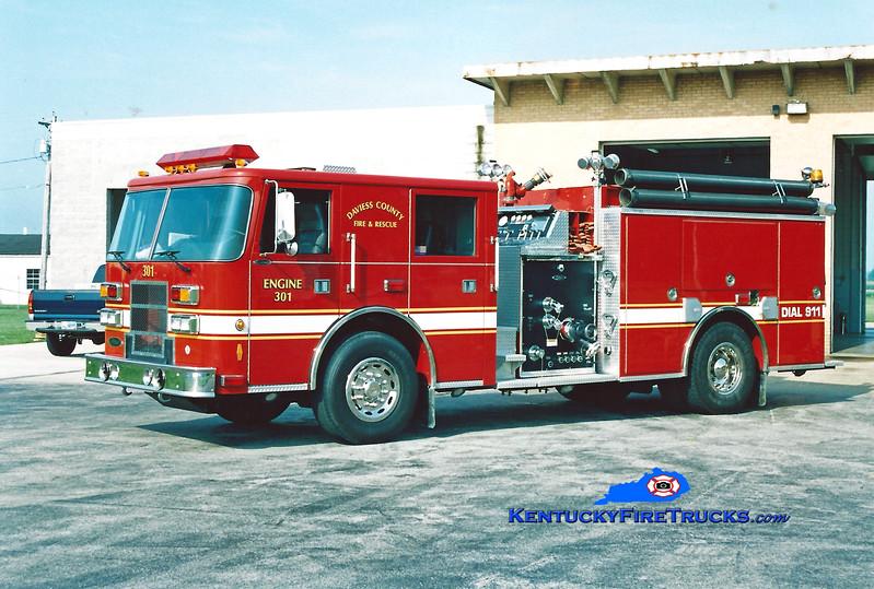 <center> RETIRED <br> Daviess County Engine 301  <br> 2001 Pierce Contender 1250/1000 <br> Kent Parrish photo </center>