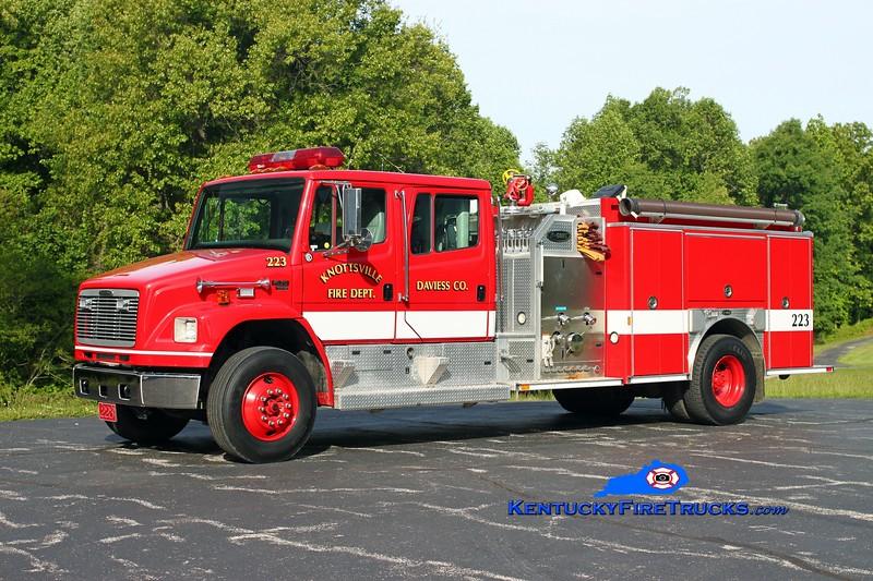 <center> RETIRED <br> Knottsville  Engine 223 <br> 2001 Freightliner FL80/E-One 1250/1000 <br> Kent Parrish photo </center>