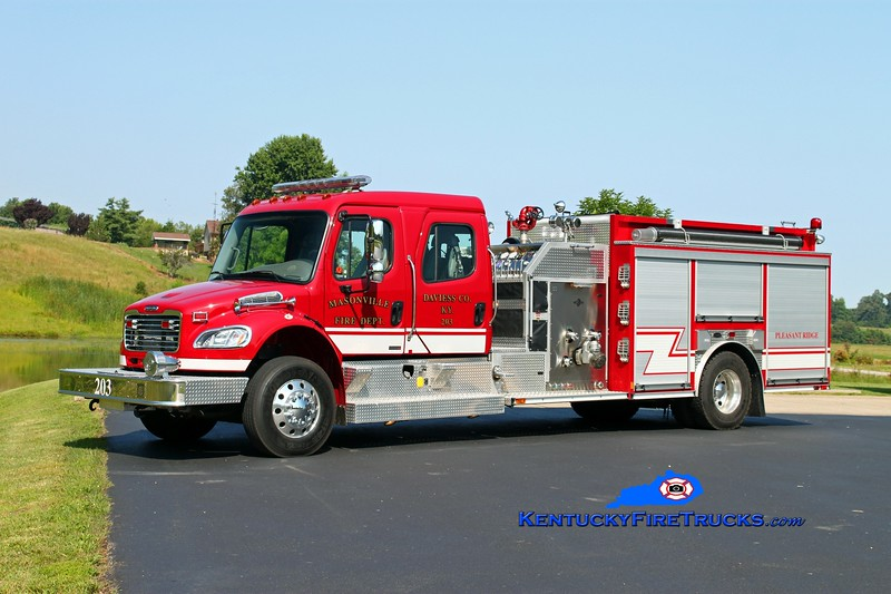 <center> Masonville  Engine 203  <br> 2008 Freightliner M2-106/E-One 1250/1000/30<br> Kent Parrish photo </center>
