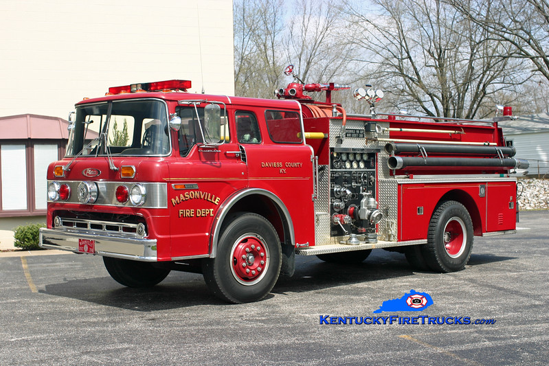 <center> RETIRED <br> Masonville  Engine 204  <br> 1974 Ford C-8000/Pierce 1000/750<br> Kent Parrish photo </center>