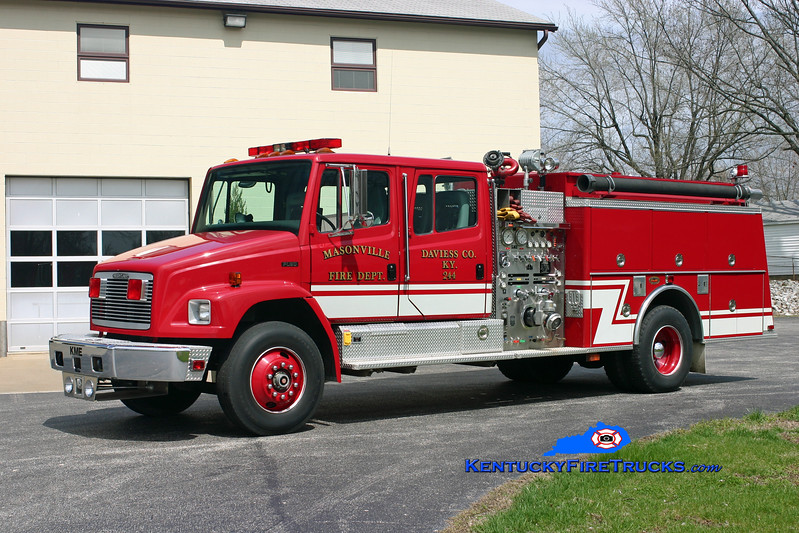 <center> RETIRED <br> Masonville  Engine 244  <br> 1993 Freightliner FL80/KME 1250/1000/30<br> Kent Parrish photo </center>