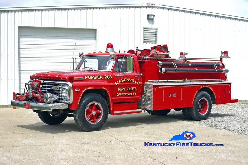 <center> RETIRED <br> Masonville  Engine 203  <br> 1972 Ford F-700/Modern Supply/MFD 500/1200<br> Kent Parrish photo </center>