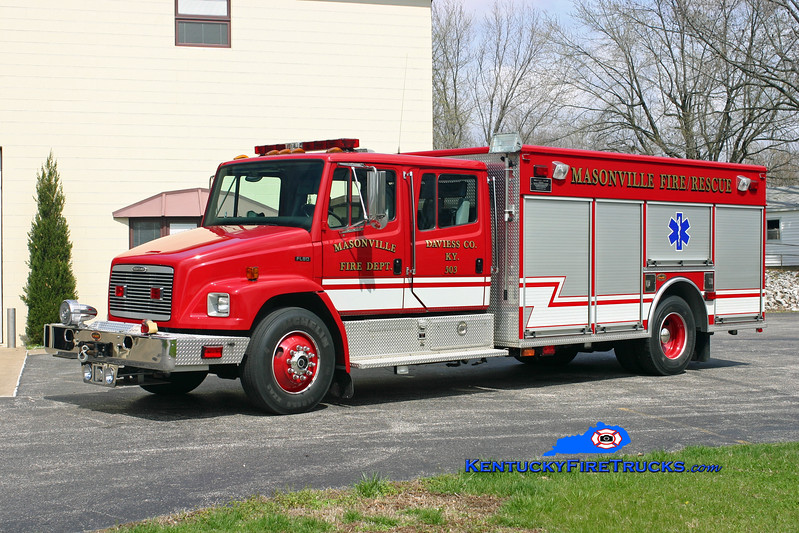 <center> Masonville  Rescue 503  <br> 2001 Freightliner FL80/KME 500/500/30<br> Kent Parrish photo </center>