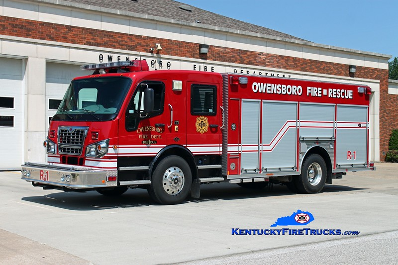 <center> Owensboro  Rescue 1 <br> 2010 Spartan Furion/2014 Rosenbauer  <br> Kent Parrish photo <br> </center>