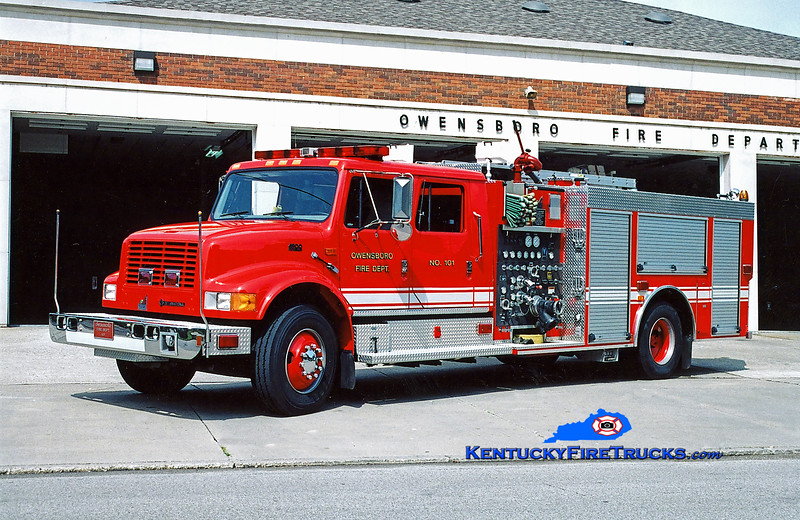 <center> RETIRED <br> Owensboro Engine 101 <br> 1998 International 4900/Smeal 1250/500 <br> Kent Parrish photo <br> </center>