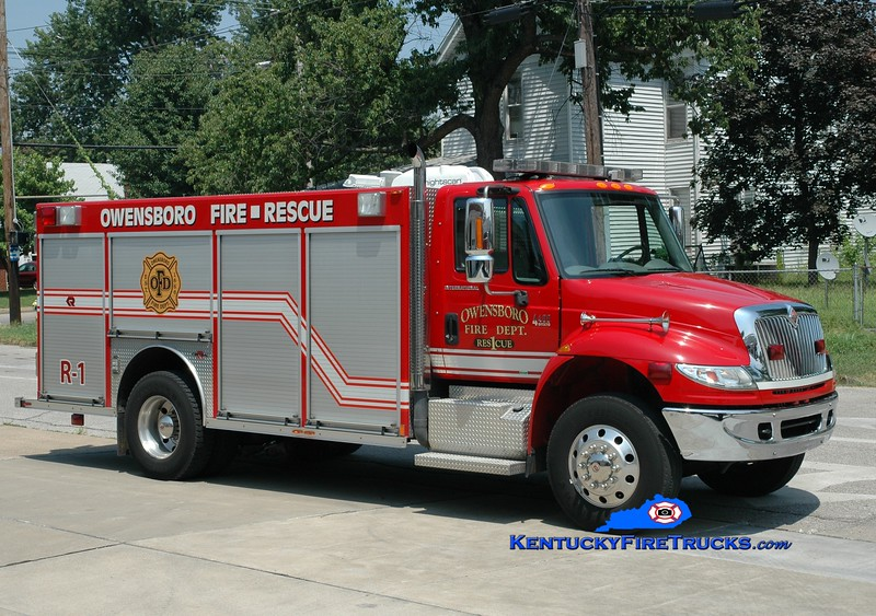 <center> REASSIGNED <br> Owensboro  Rescue 1 <br> 2007 International 4400/Rosenbauer-Central <br> Greg Stapleton photo <br> </center>