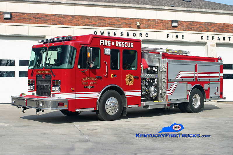 <center> RETIRED <br> Owensboro  Engine 1 <br> 2007 Spartan Advantage/Rosenbauer-Central 1500/750 <br> Kent Parrish photo <br> </center>