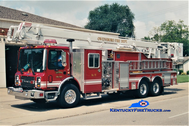 RESERVE LADDER <br /> Owensboro Ladder 12 <br /> x-Ladder 111<br /> 2001 Mack MR/Ferrara 1500/500/75' Snorkel<br /> Greg Stapleton photo