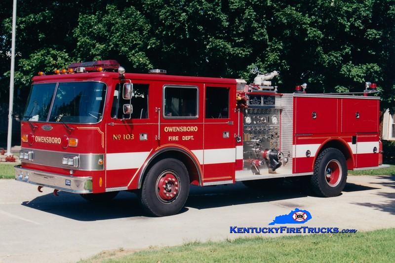 <center> RETIRED <br> Owensboro  Engine 103 <br> 1982/1991 Pierce Arrow 1250/500 <br> Greg Stapleton photo <br> </center>