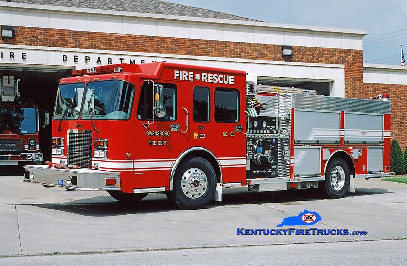 <center> RETIRED <br> Owensboro  Engine 103 <br> 2003 Spartan Advantage/Rosenbauer-Central 1250/750 <br> Kent Parrish photo <br> </center>