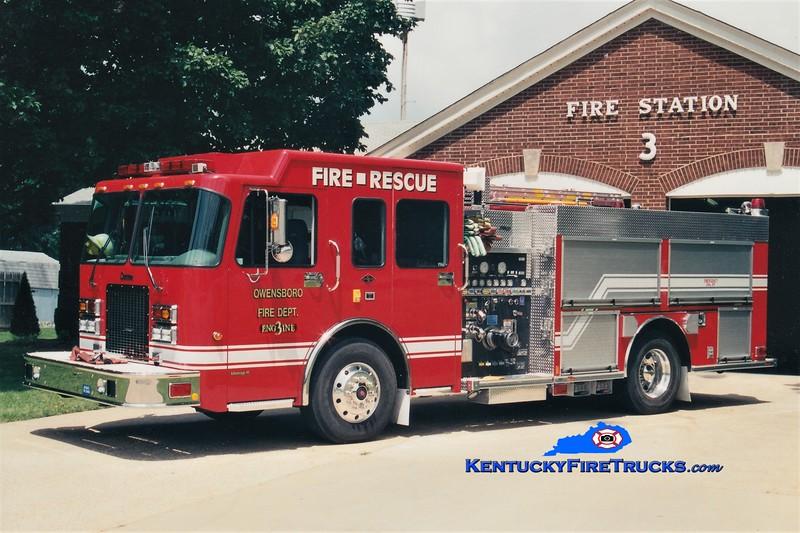 RETIRED<br /> Owensboro Engine 3<br /> x-Engine 103<br /> 2003 Spartan Advantage/Rosenbauer-Central 1250/750<br /> Greg Stapleton photo