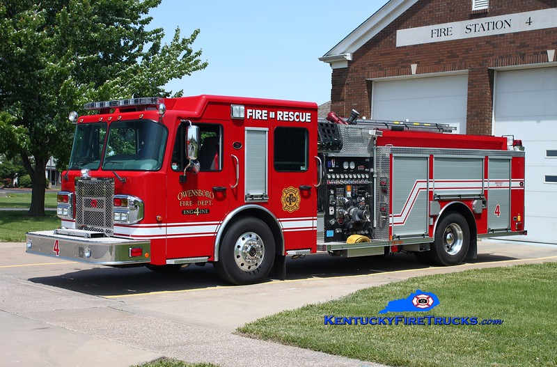 <center> Owensboro  Engine 4 <br> 2012 Spartan Metro Star/Rosenbauer 1500/750/30 <br> Kent Parrish photo <br> </center>